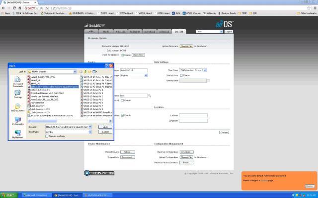airOS Firmware Update tab choose file