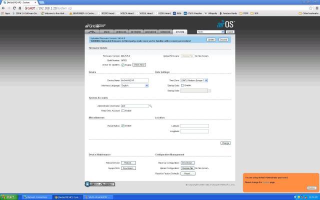 airOS Firmware Update tab update firware